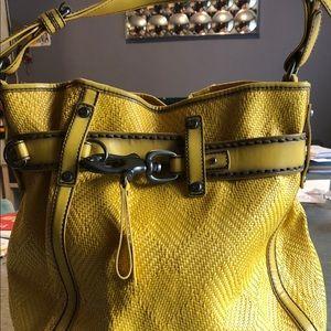 Francesco biasia yellow belted woven bag